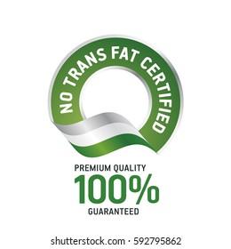 No Trans Fat Certified green ribbon label logo icon