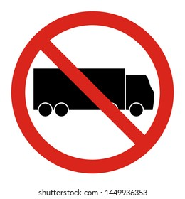 No truck. Entry a trucks are not allowed. Vector sign Red circle with a red diagonal line through the silhouette of a truck.