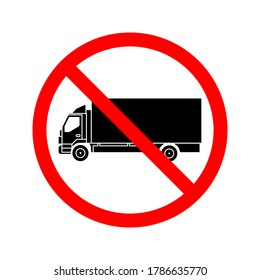 No truck icon. No truck or no parking sign. prohibited sign. no trucks allowed sign. vector illustration