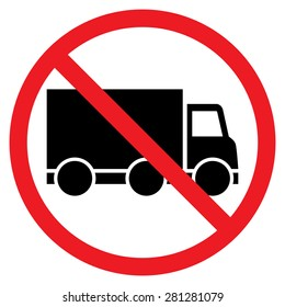 No truck or no parking sign,prohibit sign vector. Red prohibition sign. Stop symbol