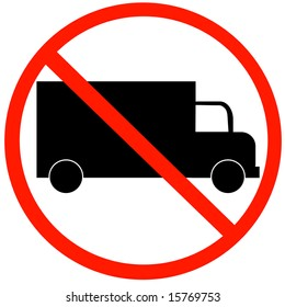 No Trucks Allowed sign isolated against a white background