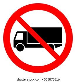 No trucks. Truck prohibition sign, vector illustration.