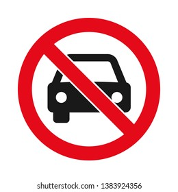 No vehicles allowed sign in red and black, Crossed out silhouette of a car