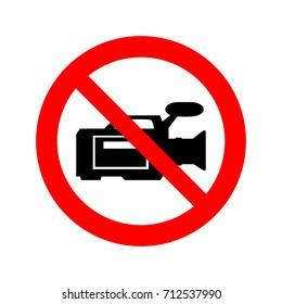 No video cameras sign vector icon.