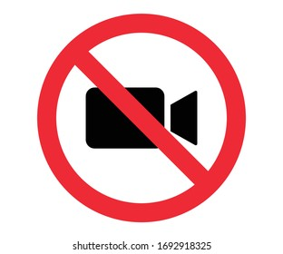 no video, video recording prohibited warning sign vector