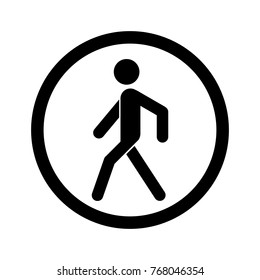 No walking sign. Prohibited black road sign isolated on white background. Pedestrian sign. Stop entry symbol for forbidden. Forbidden walking sign Vector illustration