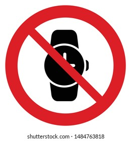 No watch vector. Not allow no wrist watch. The red circle prohibiting sing