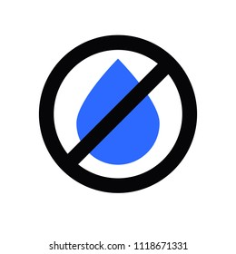 No water, not wet. Blue drop under the sign ban. Flat icon, vector illustration.