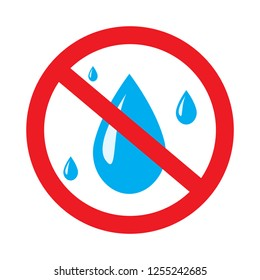 No water resistant, no waterproof or do not drink with drop warning signs flat symbols prohibition vector icon illustration isolated on white background.Forbidden circle red road ban or stop,