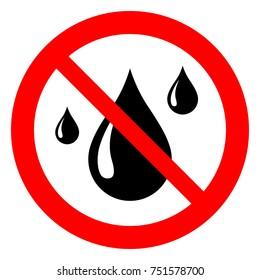 No water resistant, no waterproof warning sign, vector illustration.