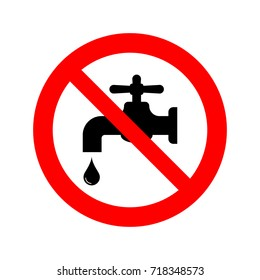 No water tap sign vector icon.
