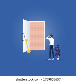 No way out, business concept Vector-Brick wall blocking the doorway-businessman standing dismal. adversity, obstacle trapped