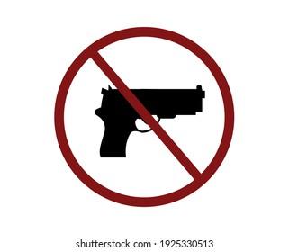 No weapon vector icon.  Editable stroke. Linear symbol for use on web design and mobile apps, logo. No gun symbol illustration. Pixel vector graphics - Vector