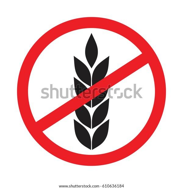 No Wheat Sign Gluten Free Symbols Stock Vector (Royalty Free) 610636184