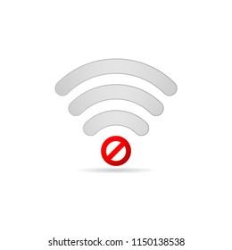 No wifi bad connection broken signal vector icon. Offline mode symbol