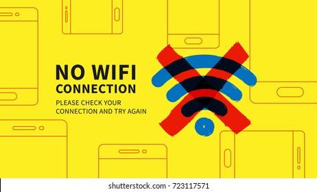 Keine Wifi-Verbindung Seite, Vektorgrafik. Webseite ohne Wi-Fi-Verbindungsfehler Grafikdesign. Wide Screen Netzwerk Fehler Seite Kreativkonzept.