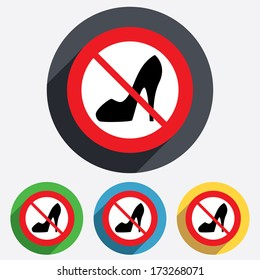 No Women sign. Women's shoe icon. Woman not allowed. High heels shoe symbol. Red circle prohibition sign. Stop flat symbol. Vector