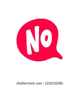 No word text on talk shape. Vector illustration speech bubble on white background. Design element for badge, sticker, mark, symbol, icon and card chat. Red color