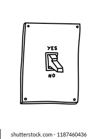 No or yes. Choice. Hand-drawn vector illustration of toggle switches. Tattoo sketch. Print for t-shirt and bags.