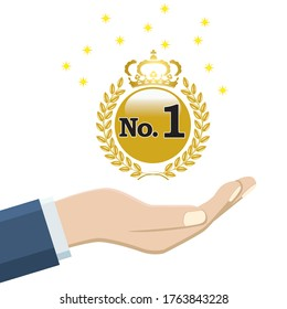 The no1 title, a gold medal floating in the palm of your hand. Image of competition and online shop usage.