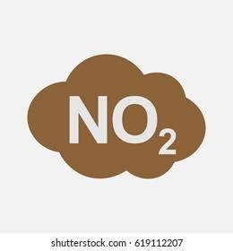 NO2 icon, nitrogen dioxide formula symbol, vector illustration.