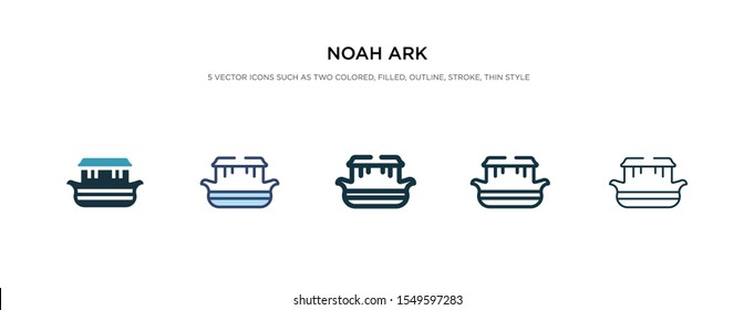 noah ark icon in different style vector illustration. two colored and black noah ark vector icons designed in filled, outline, line and stroke style can be used for web, mobile, ui