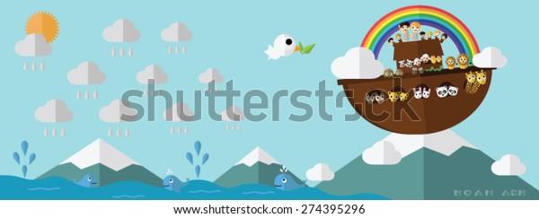 Noah Ark On Ararat Mountain Rainbow Stock Vector (Royalty