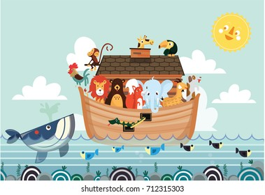 Noah ark vector cute animals children illustration