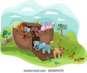 Noah's Arc illustration with funny animals