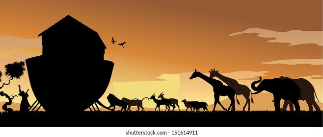 Noah's Ark with animals entering at sunset