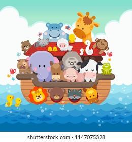Noah's Ark cartoon and cute animals children illustration