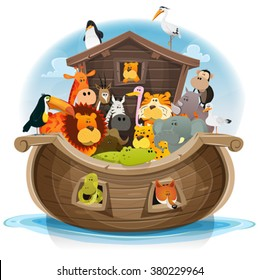 Noah's Ark With Cute Animals/ Illustration of cute cartoon group of wild animals inside noah's ark, with lion, elephant, giraffe, gazelle, monkey, ape, zebra, birds and others on ocean background