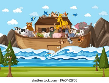 Noah's ark floating with many animals in the ocean scene illustration