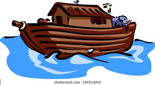 Noah's ark is floating in the waves.