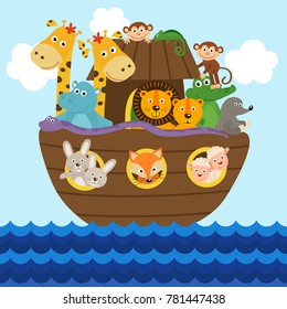 Noah's ark full of animals aboard  - vector illustration, eps
