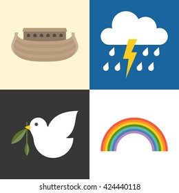 Noah's ark icons set, rainbow, raining, pigeon and olive branch flat design