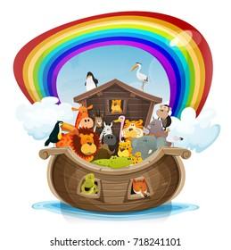 Noah's Ark With Rainbow/ Illustration of a cute cartoon group of wild animals inside biblical noah's ark, with lion, elephant, giraffe, gazelle, gorilla monkey, ape, zebra, birds on rainbow background