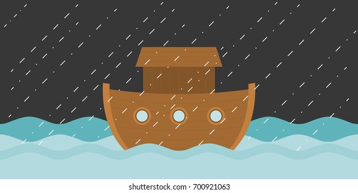 Noah's ark in raining, vector illustration flat design
