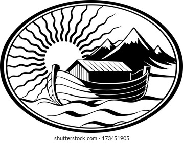 Noah's Ark, in the sea near the land, mountains, illuminated by the sun, vector illustration