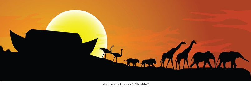 Noah's ark and sunset in background, vector illustration