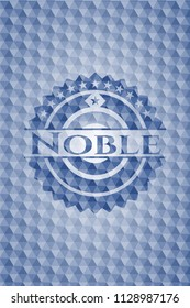 Noble blue emblem or badge with geometric pattern background.