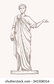 Noble myth aristocrat orator in toga cloak with laurel wreath on head and scroll manuscript in hand isolated on white background. Freehand outline ink drawn picture sketch in empire style pen on paper