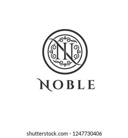 Noble vector logo. N,N letters emblem. N letter vector stamp, badge, sign, fashion, boutique logo