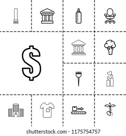 Nobody icon. collection of 13 nobody outline icons such as cauliflower, baby bottle, barber brush, dollar, office chair, bank. editable nobody icons for web and mobile.