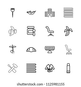 Nobody icon. collection of 16 nobody outline icons such as towels, barber brush, woman in hammock, office chair. editable nobody icons for web and mobile.