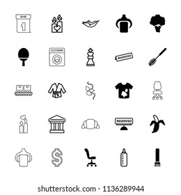Nobody icon. collection of 25 nobody filled and outline icons such as toilet brush, dirty laundry, banana, reserved, baby bottle. editable nobody icons for web and mobile.