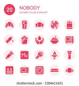 nobody icon set. Collection of 20 filled nobody icons included Croissant, Water, Wires, Paper bag, Sand, Porridge, Microwave, Flashlight, Muse, Torch, Minibar, Dimmer