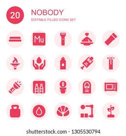 nobody icon set. Collection of 20 filled nobody icons included Water, Muse, Flashlight, Porridge, Torch, Finger, Wire, Minibar, Growth, Microwave, Kettlebell, Croissant