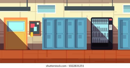 Nobody school corridor interior cartoon vector illustration. School or college interior hallway with lockers