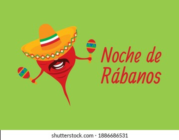 Noche de Rabanos vector. Night of the Radishes vector. Cheerful mexican radish cartoon character. Mexican holiday Night of the Radishes. Mexican feast with carved radish in Oaxaca. Important day